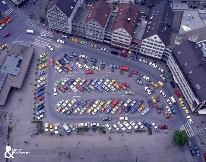 Blick vom Ulmer Münster in den 70er Jahren